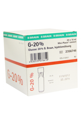 B. Braun, 20% Braun Mini Plasco Connect , Глюкоза 20 % мини пласко коннект 20 x 100 ml