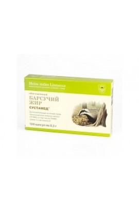 Sustamed Badger fat enriched with 100 capsules of 0.3 grams.