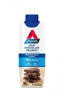Atkins Ready to Drink Protein-Rich Shake, Milk Chocolate Delight, Gluten Free,12 Count