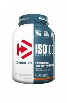 Dymatize ISO 100 Whey Protein Powder Isolate, Peanut Butter, 3 lbs