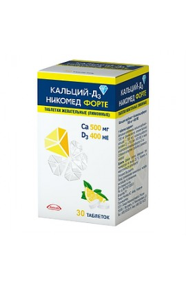 Takeda Pharmaceuticals Ltd. Calcium-D3 Nikomed forte tablets chewing lemon, 30 pcs.