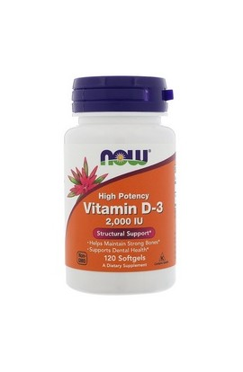 Now Foods, Витамин D3, Vitamin D-3 High Potency, 2,000 IU, 120 шт