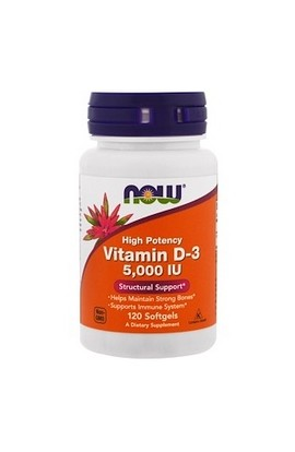 Now Foods, Витамин D3, Vitamin D-3 High Potency, 5,000 IU, 120 шт